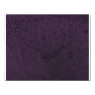 Purple Retro Flowers and Butterflies Abstract 11 Cm X 14 Cm Invitation Card