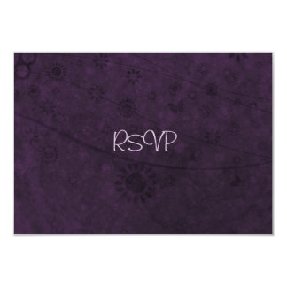 Purple Retro Flowers and Butterflies Abstract 9 Cm X 13 Cm Invitation Card