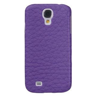Purple Retro Grunge Custom Leather Galaxy S4 Case