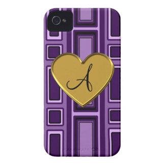 Purple retro squares monogram iPhone 4 cover
