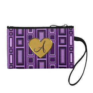 Purple retro squares monogram coin purse