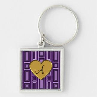 Purple retro squares monogram keychains
