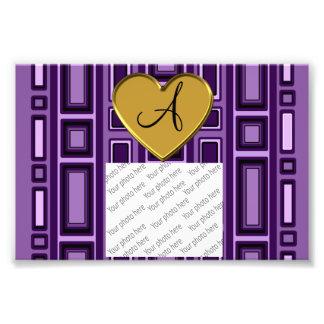 Purple retro squares monogram photograph