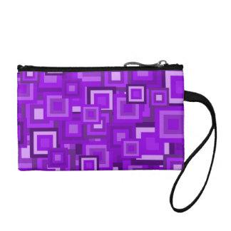 Purple Retro Squares Pattern Coin Purse