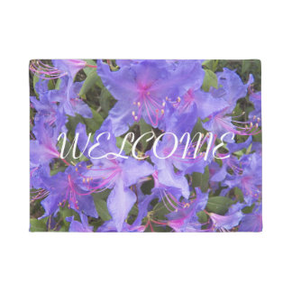 Purple Rhododendron Blooms Floral Welcome Doormat