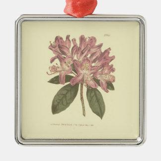 Purple Rhododendron Illustration Silver-Colored Square Decoration