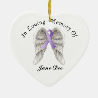 Purple Ribbon All Cancer In Memory Ceramic Heart Decoration