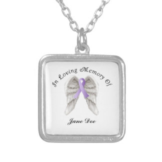 Purple Ribbon All Cancer In Memory Silver Plated Necklace