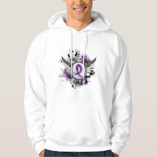Purple Ribbon And Wings Chiari Malformation Hoodies