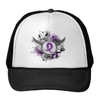 Purple Ribbon And Wings Leiomyosarcoma Mesh Hats