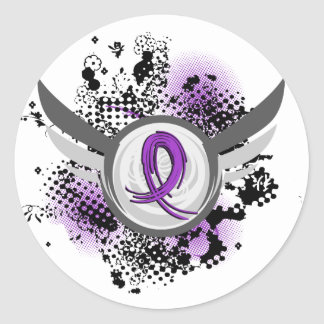 Purple Ribbon And Wings Pancreatic Cancer Round Sticker