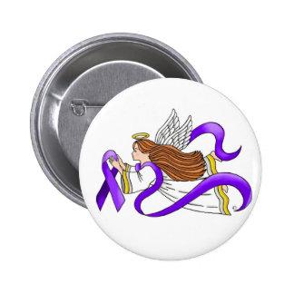 """Purple Ribbon"" Angel of Awareness 6 Cm Round Badge"