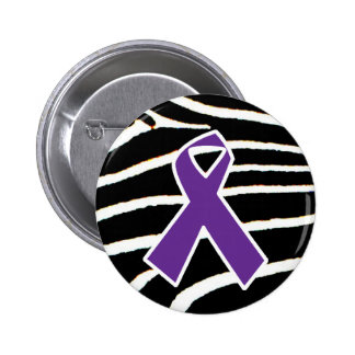 Purple Ribbon Pinback Buttons
