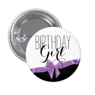 Purple Ribbon Bow Birthday Girl 3 Cm Round Badge
