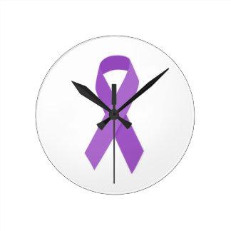 PURPLE RIBBON CAUSES support for Alzheimer's disea Wallclocks