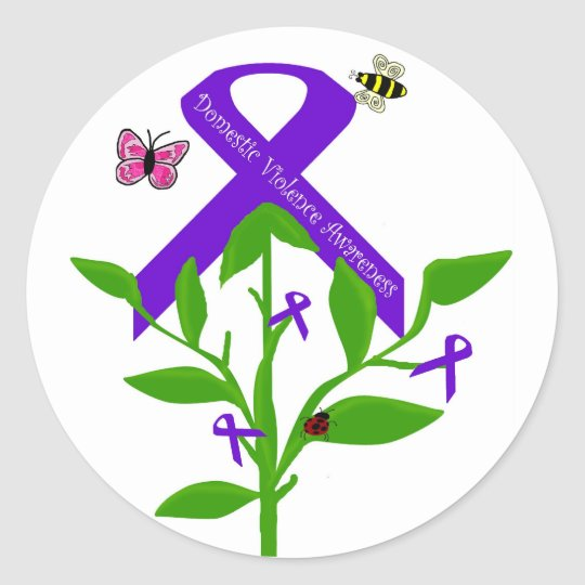Purple ribbon Domestic Violence Awareness stickers