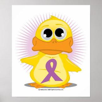 Purple Ribbon Duck Posters