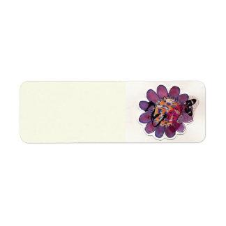Purple  Ribbon Flower Return Address Label