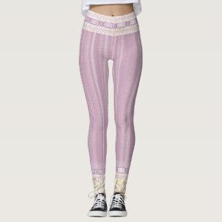 Purple, Ribbon & Lace Pinstripe Print Trim Leggings