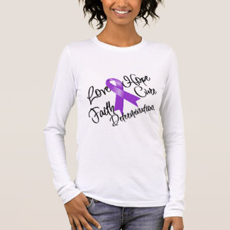 Purple Ribbon Love Hope Determination Long Sleeve T-Shirt