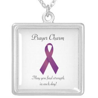 Purple Ribbon Prayer charm necklace