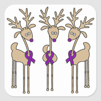 Purple Ribbon Reindeer - Alzheimer s Disease Stickers