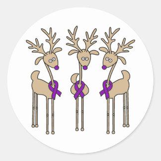 Purple Ribbon Reindeer - Alzheimer s Disease Round Sticker