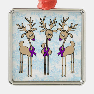 Purple Ribbon Reindeer - Alzheimer's Disease Christmas Ornament