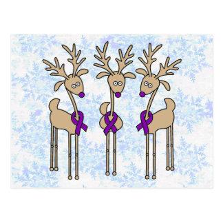 Purple Ribbon Reindeer - Alzheimer's Disease Postcard