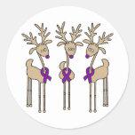 Purple Ribbon Reindeer - Alzheimer's Disease Round Sticker