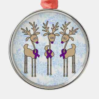 Purple Ribbon Reindeer (Crohn's & Colitis) Christmas Ornament
