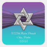 Purple Ribbon Silver Star of David Square Stickers
