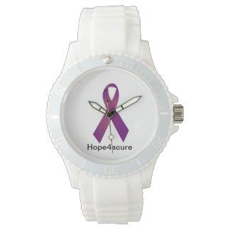 Purple Ribbon watch Cystic Fibrosis Lupus Fibro