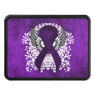 Purple Ribbon with Wings Tow Hitch Covers