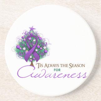 Purple Ribbon Xmas Awareness Season Coasters