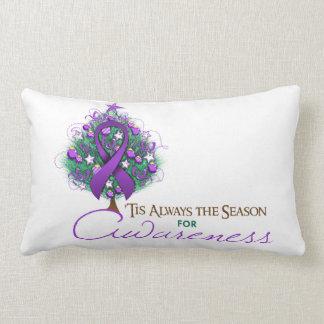 Purple Ribbon Xmas Awareness Season Pillow