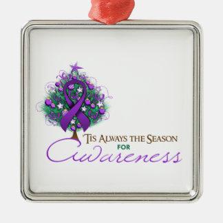 Purple Ribbon Xmas Awareness Season Ornaments