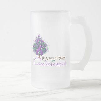 Purple Ribbon Xmas Awareness Season Coffee Mug