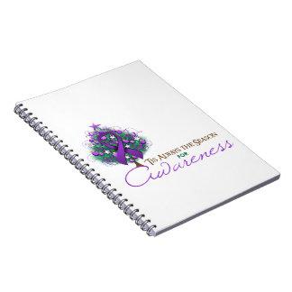 Purple Ribbon Xmas Awareness Season Notebooks
