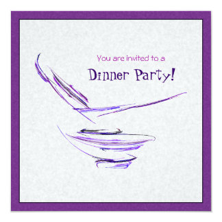 Purple Rice Bowl Abstract Art 13 Cm X 13 Cm Square Invitation Card