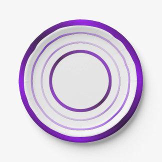 Purple Rings 7 Inch Paper Plate