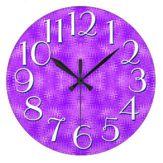 Purple Ripple Pattern Elegant Oversize Numbers Clocks