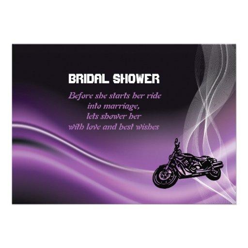 Purple road biker wedding bridal shower invitation custom invite