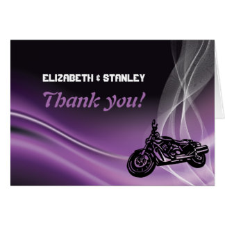 Purple road biker wedding Thank You note card