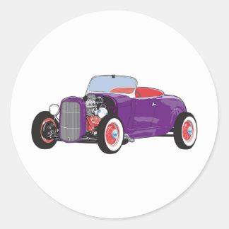 Purple Roadster Round Sticker