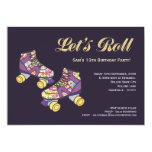Purple Roller Skate Roller Skating Birthday Party Personalized Invitation