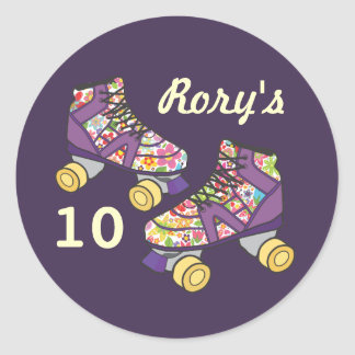 Purple Roller Skate Roller Skating Party Sticker