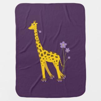 Purple Roller Skating Funny Cartoon Giraffe Baby Blankets