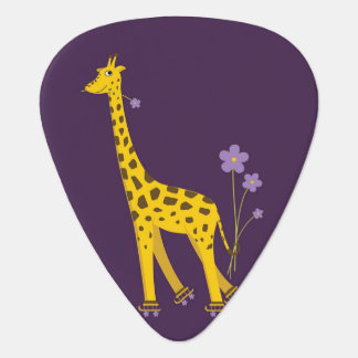 Purple Roller Skating Funny Cartoon Giraffe Plectrum