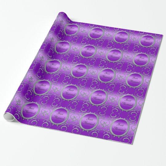 Purple Romance Metallic Silver Scrolls Wedding Wrapping Paper